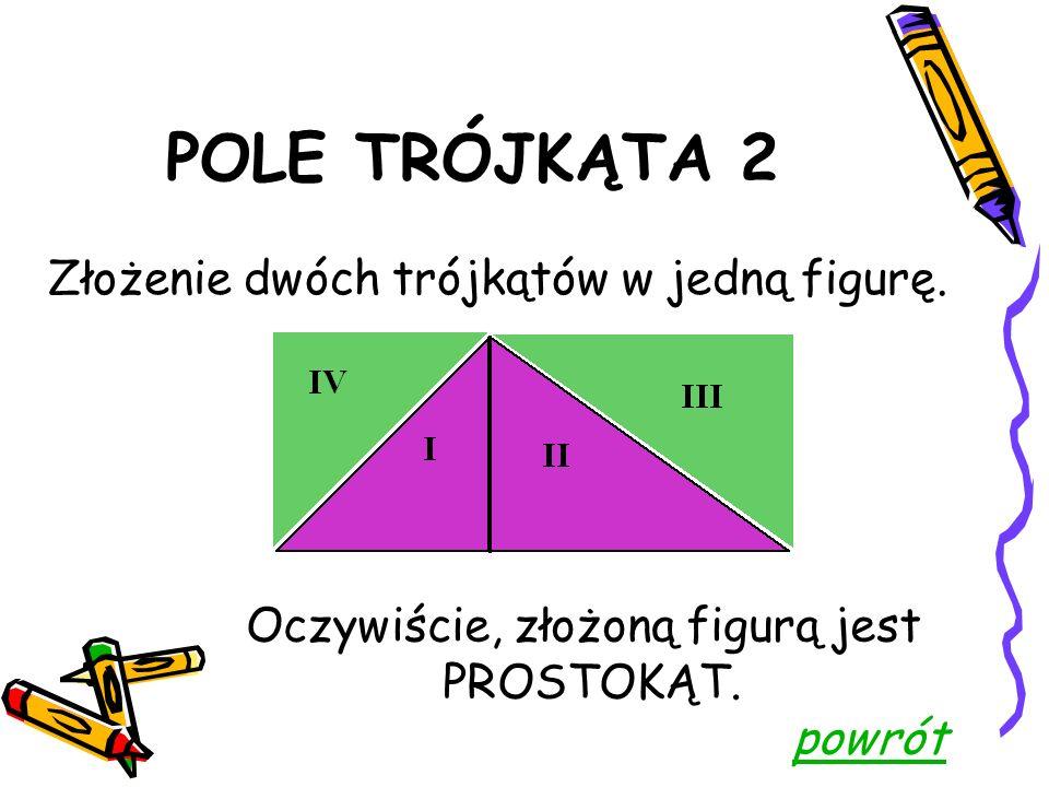 POLE TRÓJKĄTA 2 Podział trójkąta na części. IV III II I
