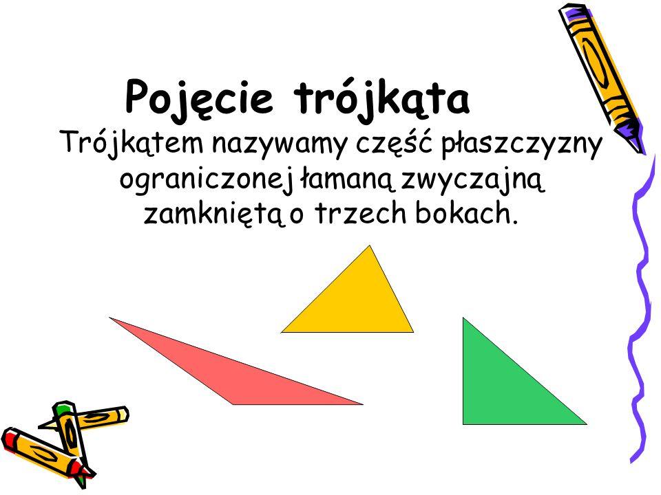 Pojęcie trójkąta Trójkątem nazywamy część płaszczyzny ograniczonej łamaną zwyczajną zamkniętą o trzech bokach.