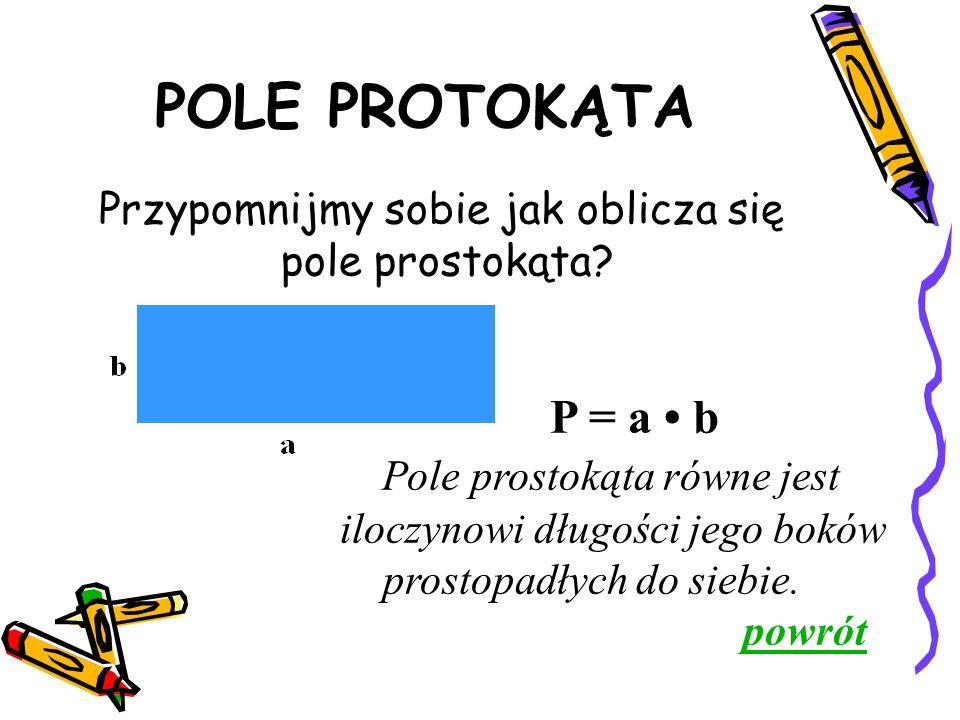POLE PROTOKĄTA P = a b Pole prostokąta równe jest iloczynowi długości jego boków prostopadłych do siebie.