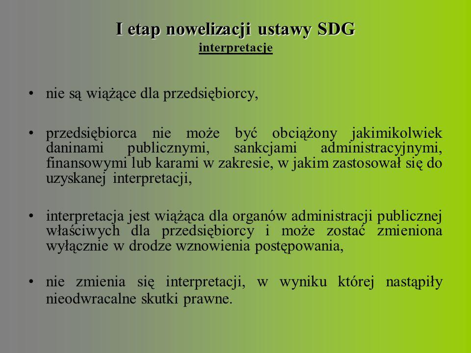 """I etap nowelizacji ustawy SDG I etap nowelizacji ustawy SDG inne czasowe świadczenie usług na terytorium RP przedsiębiorców z UE i Szwajcarii umożliwiono podejmowanie działalności gospodarczej w Polsce przez członków rodzin osób pochodzących z krajów trzecich i wykonujących już działalność na terytorium RP uwzględniono możliwość innego, niż wskazany w obecnie obowiązującym przepisie, sposobu oznaczania wyrobów poprzez dodanie określenia: """"lub dostarczenia w inny, zwyczajowo przyjęty sposób"""