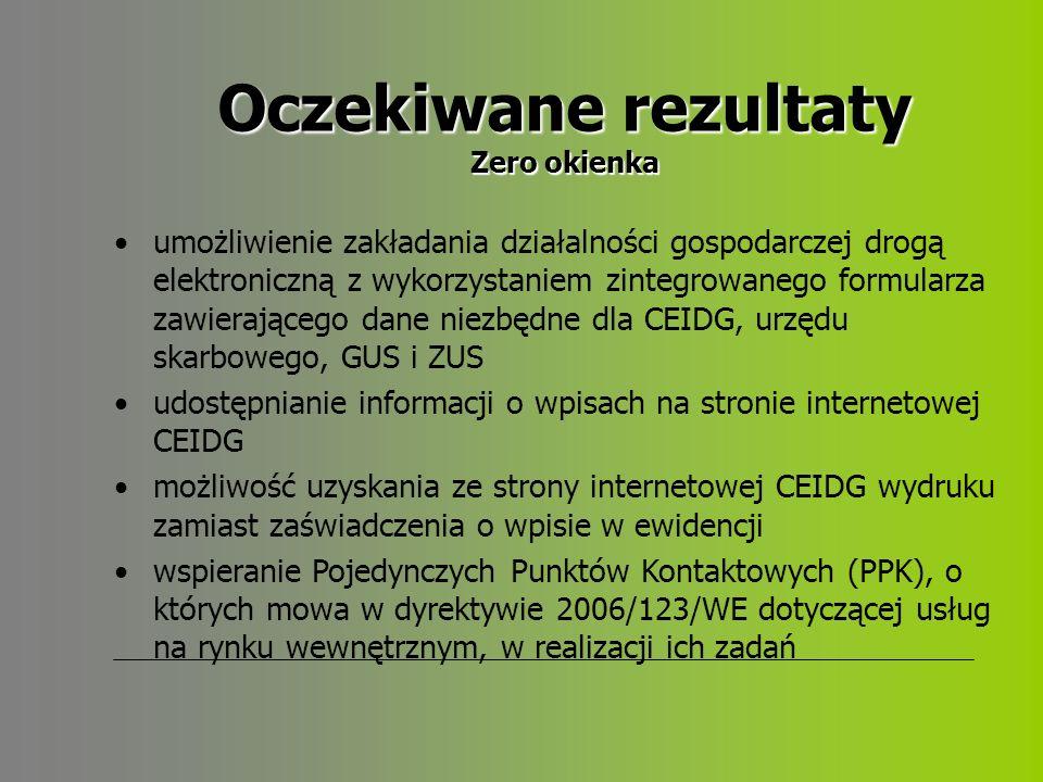 Oczekiwane rezultaty Zero okienka umożliwienie zakładania działalności gospodarczej drogą elektroniczną z wykorzystaniem zintegrowanego formularza zawierającego dane niezbędne dla CEIDG, urzędu skarbowego, GUS i ZUS udostępnianie informacji o wpisach na stronie internetowej CEIDG możliwość uzyskania ze strony internetowej CEIDG wydruku zamiast zaświadczenia o wpisie w ewidencji wspieranie Pojedynczych Punktów Kontaktowych (PPK), o których mowa w dyrektywie 2006/123/WE dotyczącej usług na rynku wewnętrznym, w realizacji ich zadań