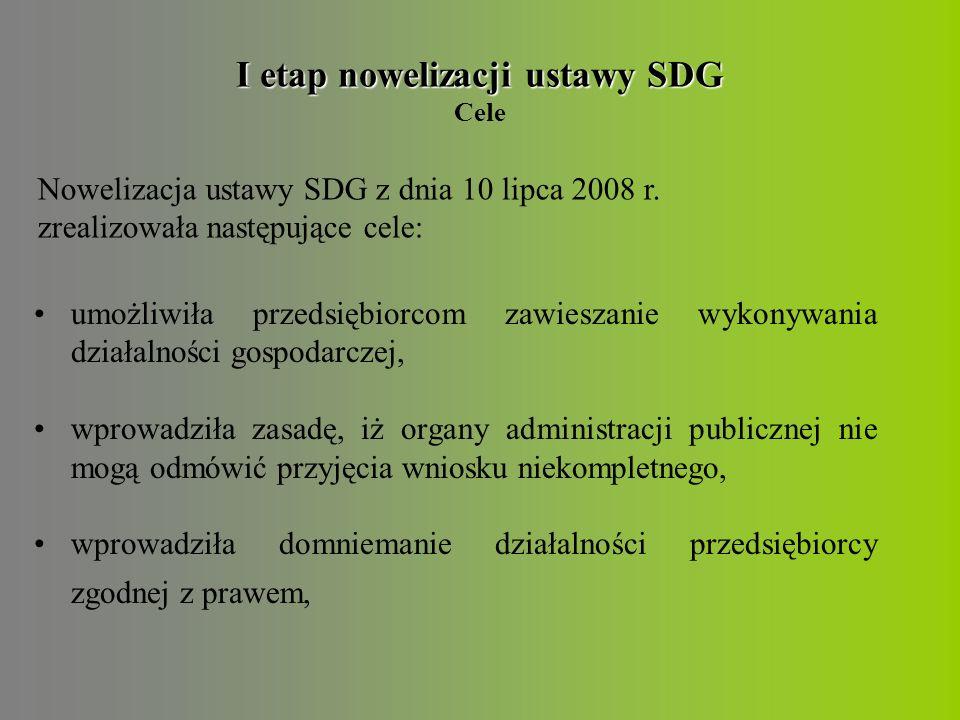 I etap nowelizacji ustawy SDG I etap nowelizacji ustawy SDG Cele umożliwiła przedsiębiorcom zawieszanie wykonywania działalności gospodarczej, wprowadziła zasadę, iż organy administracji publicznej nie mogą odmówić przyjęcia wniosku niekompletnego, wprowadziła domniemanie działalności przedsiębiorcy zgodnej z prawem, Nowelizacja ustawy SDG z dnia 10 lipca 2008 r.