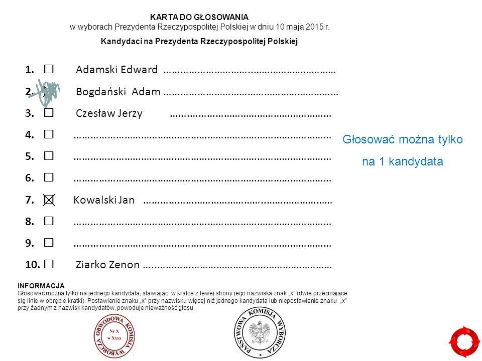 1. Adamski Edward …………………………..………………………… 2.  Bogdański Adam ……………………………………………………… 3.