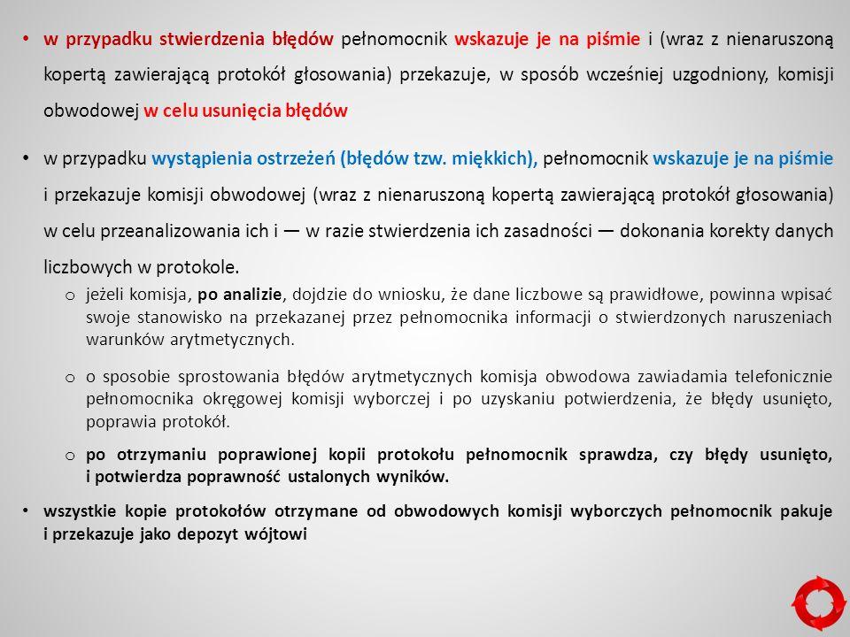 w przypadku stwierdzenia błędów pełnomocnik wskazuje je na piśmie i (wraz z nienaruszoną kopertą zawierającą protokół głosowania) przekazuje, w sposób wcześniej uzgodniony, komisji obwodowej w celu usunięcia błędów w przypadku wystąpienia ostrzeżeń (błędów tzw.