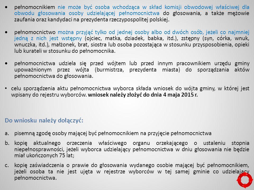  pełnomocnikiem nie może być osoba wchodząca w skład komisji obwodowej właściwej dla obwodu głosowania osoby udzielającej pełnomocnictwa do głosowania, a także mężowie zaufania oraz kandydaci na prezydenta rzeczypospolitej polskiej.