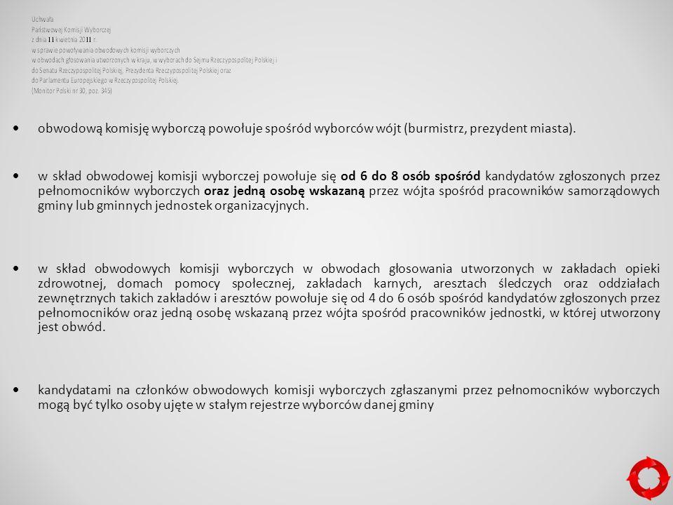  obwodową komisję wyborczą powołuje spośród wyborców wójt (burmistrz, prezydent miasta).