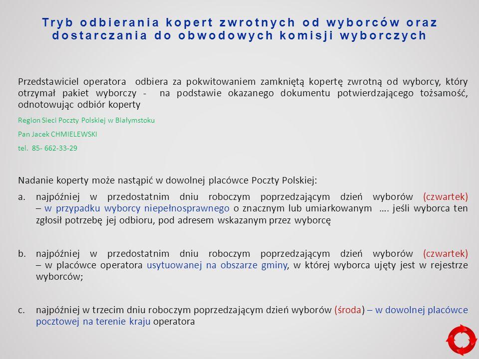 Tryb odbierania kopert zwrotnych od wyborców oraz dostarczania do obwodowych komisji wyborczych Przedstawiciel operatora odbiera za pokwitowaniem zamkniętą kopertę zwrotną od wyborcy, który otrzymał pakiet wyborczy - na podstawie okazanego dokumentu potwierdzającego tożsamość, odnotowując odbiór koperty Region Sieci Poczty Polskiej w Białymstoku Pan Jacek CHMIELEWSKI tel.
