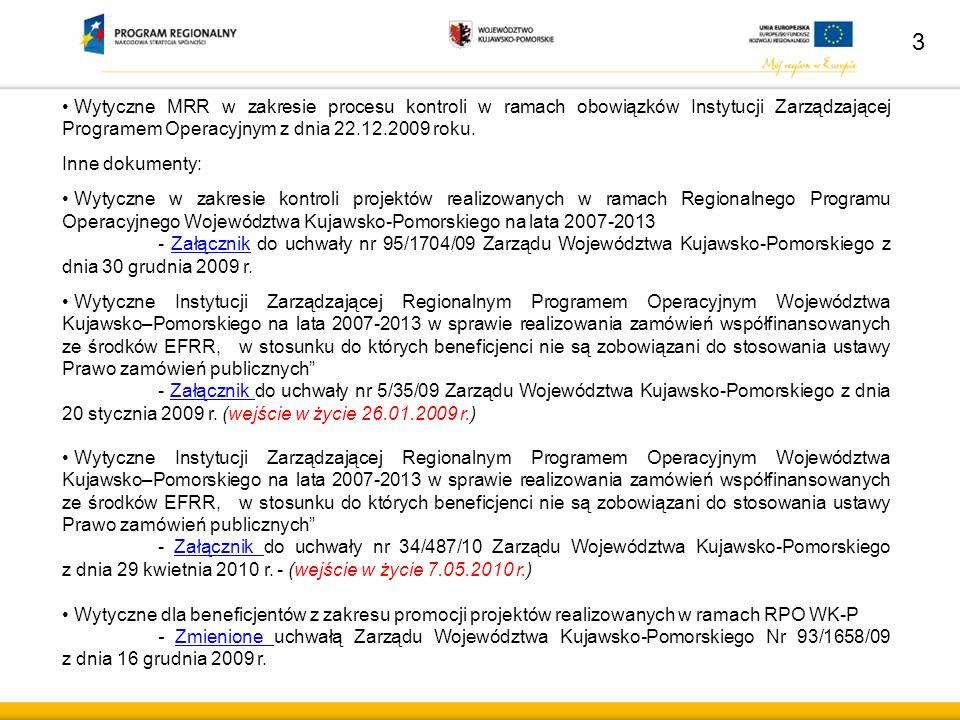 """4 Formy prowadzenia kontroli: 1.Kontrola dokumentacji: weryfikacja dokumentacji przedstawionej przez Beneficjenta, szczególnie informacji o zmianach w realizacji projektu, wniosków o płatność wraz z częścią sprawozdawczą projektu – w siedzibie Departamentu Wdrażania RPO – Wydział Wdrażania Projektów (Biuro Wdrażania Projektów – Przedsiębiorczość) kontrola dokonanych przez Beneficjenta zakupów, realizacji usług zgodnie z """"Wytycznymi Instytucji Zarządzającej (…) w sprawie realizowania zamówień współfinansowanych ze środków EFRR, w stosunku do których beneficjenci nie są zobowiązani do stosowania ustawy Prawo zamówień publicznych , na podstawie dokumentów załączonych do wniosków o płatność (weryfikacja przynajmniej 3 ofert handlowych, umów z wykonawcami i aneksów do tych umów) – w siedzibie Departamentu Wdrażania RPO – Wydział Wdrażania Projektów (Biuro Wdrażania Projektów – Przedsiębiorczość), weryfikacja innych dokumentów przekazanych przez Beneficjenta na wezwanie IZ RPO WK-P – w siedzibie Departamentu Wdrażania RPO – Wydział Wdrażania - Projektów (Biuro Wdrażania Projektów – Przedsiębiorczość)"""