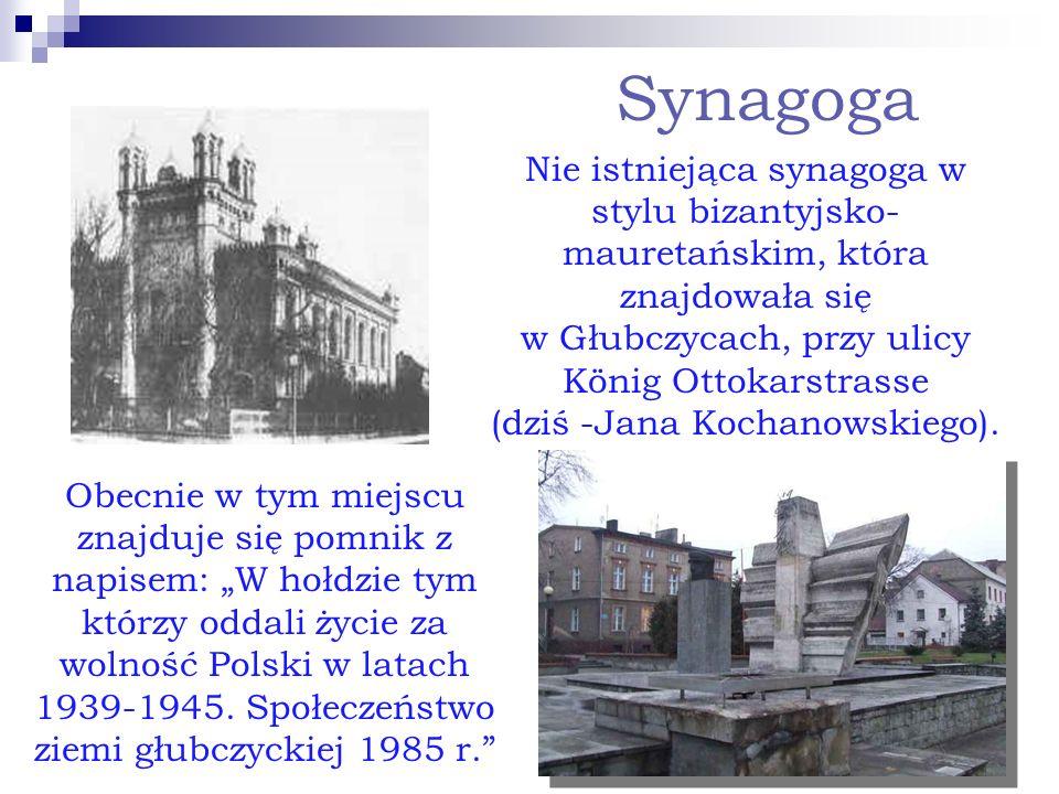 Synagoga Nie istniejąca synagoga w stylu bizantyjsko- mauretańskim, która znajdowała się w Głubczycach, przy ulicy König Ottokarstrasse (dziś -Jana Ko