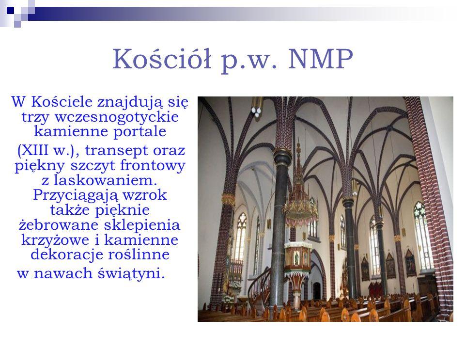 Kościół p.w. NMP W Kościele znajdują się trzy wczesnogotyckie kamienne portale (XIII w.), transept oraz piękny szczyt frontowy z laskowaniem. Przyciąg