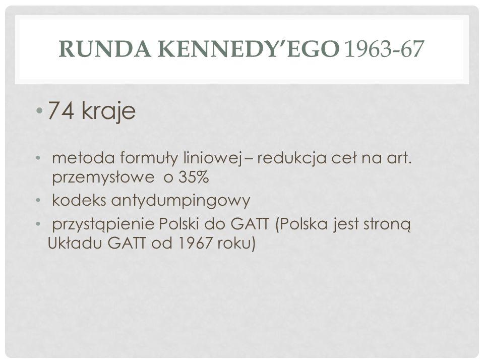 RUNDA KENNEDY'EGO 1963-67 74 kraje metoda formuły liniowej – redukcja ceł na art.