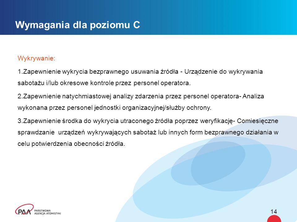 Wymagania dla poziomu C Wykrywanie: 1.Zapewnienie wykrycia bezprawnego usuwania źródła - Urządzenie do wykrywania sabotażu i/lub okresowe kontrole przez personel operatora.
