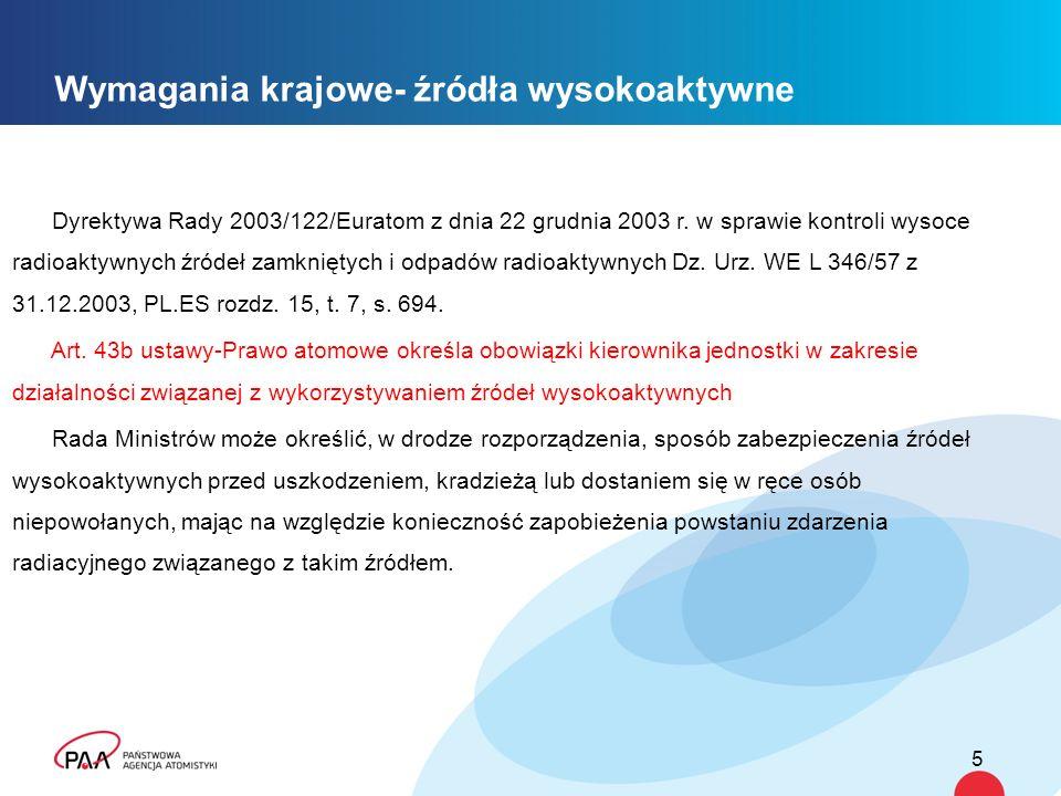 5 Wymagania krajowe- źródła wysokoaktywne Dyrektywa Rady 2003/122/Euratom z dnia 22 grudnia 2003 r.