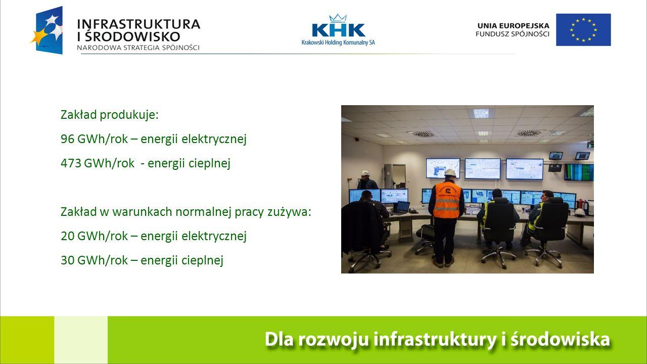 Zakład produkuje: 96 GWh/rok – energii elektrycznej 473 GWh/rok - energii cieplnej Zakład w warunkach normalnej pracy zużywa: 20 GWh/rok – energii elektrycznej 30 GWh/rok – energii cieplnej