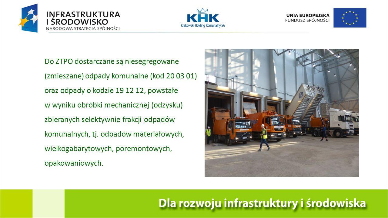 KRAKOWSKA EKOSPALARNIA Do ZTPO dostarczane są niesegregowane (zmieszane) odpady komunalne (kod 20 03 01) oraz odpady o kodzie 19 12 12, powstałe w wyniku obróbki mechanicznej (odzysku) zbieranych selektywnie frakcji odpadów komunalnych, tj.