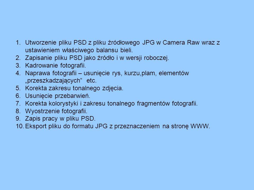 1.Utworzenie pliku PSD z pliku źródłowego JPG w Camera Raw wraz z ustawieniem właściwego balansu bieli. 2.Zapisanie pliku PSD jako źródło i w wersji r