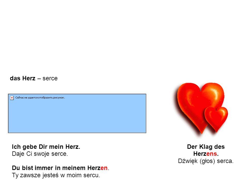 Ausnahmen - Beispiele Wyjątki - przykłady das Herz – serce Der Klag des Herzens.