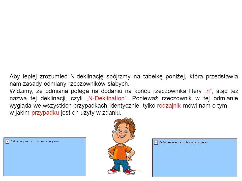 """N-Deklination und Pluralbildung Deklinacja słaba a tworzenie liczby mnogiej Liczbę mnogą rzeczowników słabych tworzymy w identyczny sposób jak ich liczbę pojedynczą, czyli poprzez dopisanie do rzeczownika dodatkowego """"n ."""