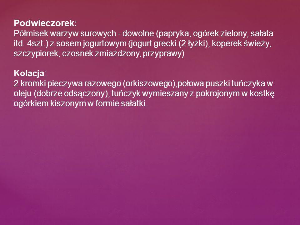 Podwieczorek: Półmisek warzyw surowych - dowolne (papryka, ogórek zielony, sałata itd.