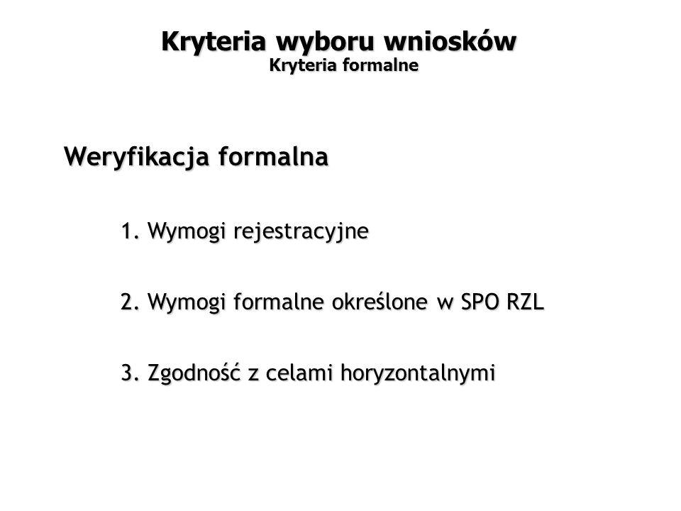 1. Wymogi rejestracyjne 2. Wymogi formalne określone w SPO RZL 3.