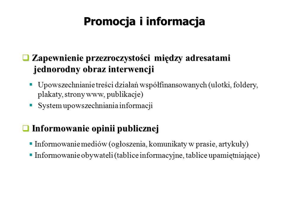  Upowszechnianie treści działań współfinansowanych (ulotki, foldery, plakaty, strony www, publikacje)  System upowszechniania informacji Promocja i informacja  Informowanie mediów (ogłoszenia, komunikaty w prasie, artykuły)  Informowanie obywateli (tablice informacyjne, tablice upamiętniające)  Zapewnienie przezroczystości między adresatami jednorodny obraz interwencji  Informowanie opinii publicznej