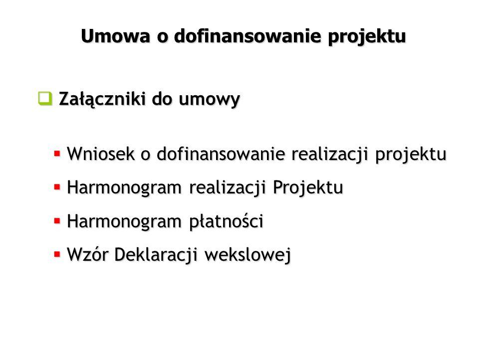  Wniosek o dofinansowanie realizacji projektu  Harmonogram realizacji Projektu  Harmonogram płatności  Wzór Deklaracji wekslowej  Załączniki do umowy Umowa o dofinansowanie projektu
