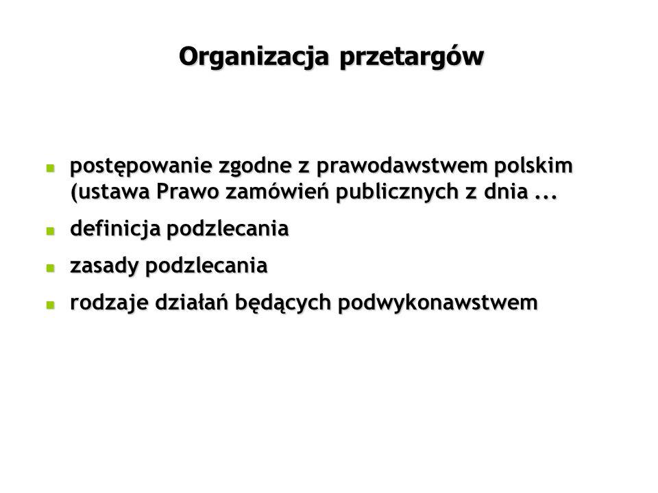 Organizacja przetargów postępowanie zgodne z prawodawstwem polskim (ustawa Prawo zamówień publicznych z dnia...