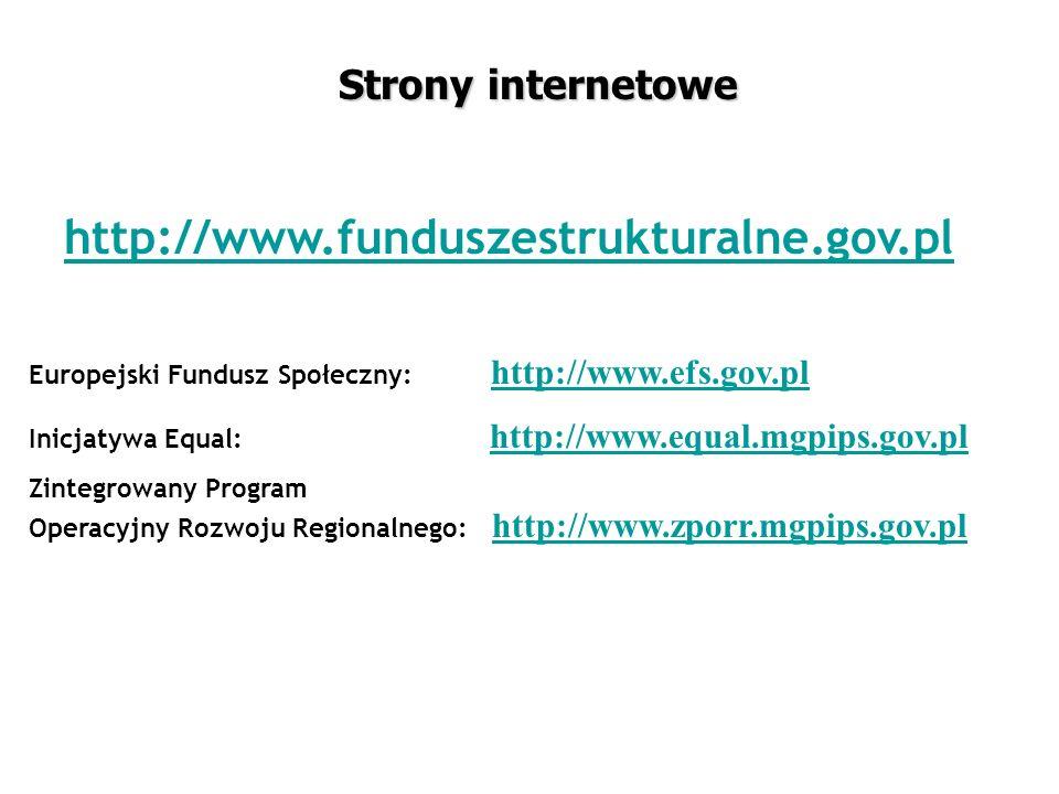 Strony internetowe http://www.funduszestrukturalne.gov.pl Europejski Fundusz Społeczny: http://www.efs.gov.plhttp://www.efs.gov.pl Inicjatywa Equal: http://www.equal.mgpips.gov.plhttp://www.equal.mgpips.gov.pl Zintegrowany Program Operacyjny Rozwoju Regionalnego: http://www.zporr.mgpips.gov.plhttp://www.zporr.mgpips.gov.pl
