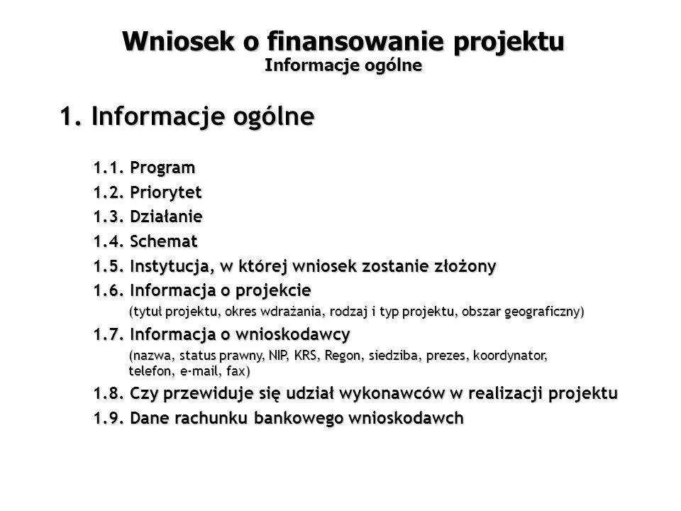 1.1. Program 1.2. Priorytet 1.3. Działanie 1.4.