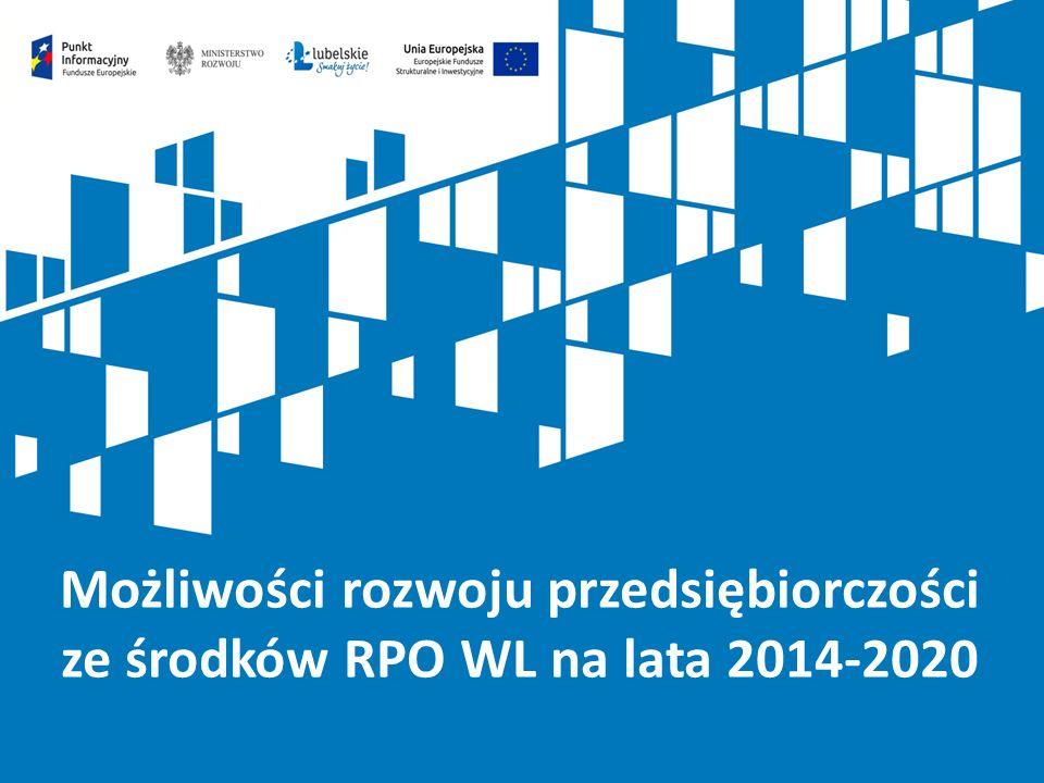 42 Poziom dofinansowania: Projekty nieobjęte pomocą publiczną: 85% (z EFRR) Projekty objęte pomocą publiczną: zgodnie z programami pomocy publicznej.