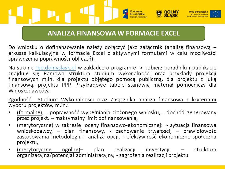 ANALIZA FINANSOWA W FORMACIE EXCEL Do wniosku o dofinansowanie należy dołączyć jako załącznik (analizę finansową – arkusze kalkulacyjne w formacie Excel z aktywnymi formułami w celu możliwości sprawdzenia poprawności obliczeń).
