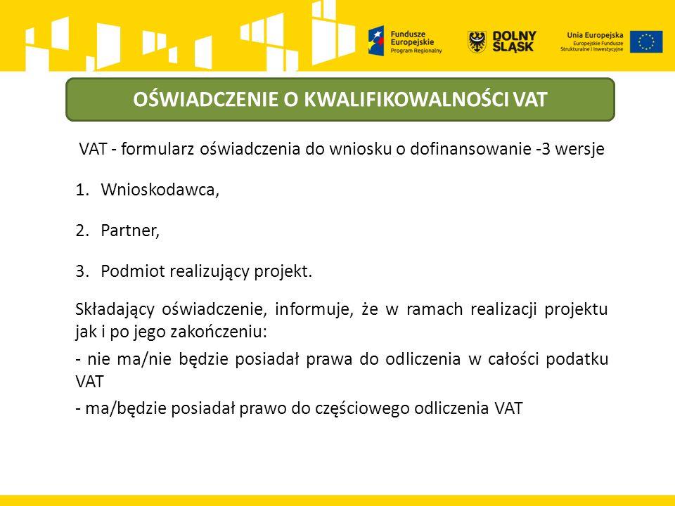 OŚWIADCZENIE O KWALIFIKOWALNOŚCI VAT VAT - formularz oświadczenia do wniosku o dofinansowanie -3 wersje 1.Wnioskodawca, 2.Partner, 3.Podmiot realizujący projekt.