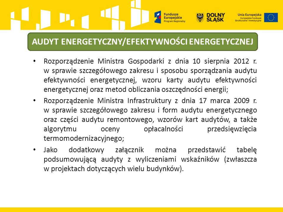 AUDYT ENERGETYCZNY/EFEKTYWNOŚCI ENERGETYCZNEJ Rozporządzenie Ministra Gospodarki z dnia 10 sierpnia 2012 r.