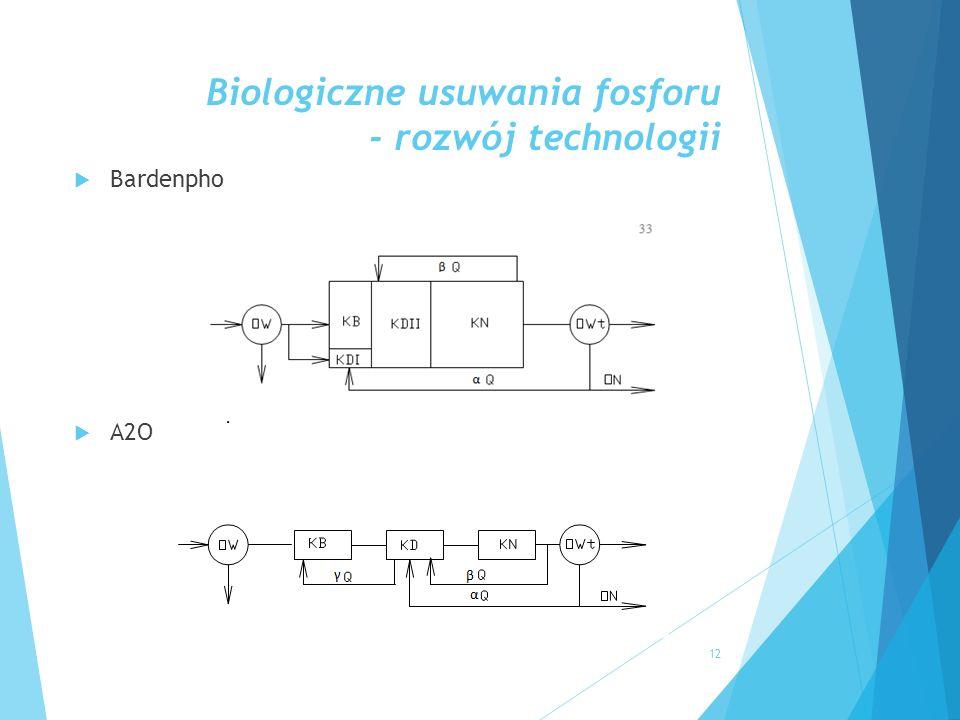 Biologiczne usuwania fosforu - rozwój technologii  Bardenpho  A2O 12