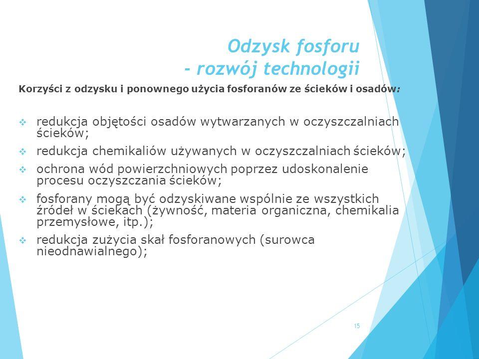 Odzysk fosforu - rozwój technologii Korzyści z odzysku i ponownego użycia fosforanów ze ścieków i osadów:  redukcja objętości osadów wytwarzanych w o