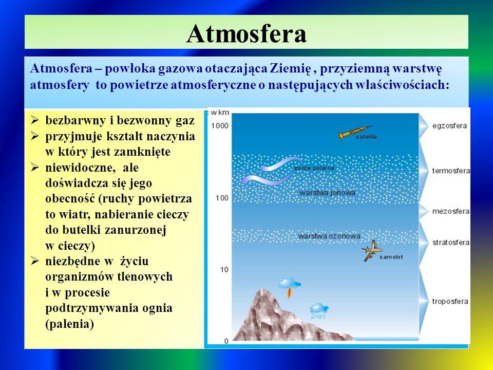 Atmosfera Atmosfera – powłoka gazowa otaczająca Ziemię, przyziemną warstwę atmosfery to powietrze atmosferyczne o następujących właściwościach:  bezbarwny i bezwonny gaz  przyjmuje kształt naczynia w który jest zamknięte  niewidoczne, ale doświadcza się jego obecność (ruchy powietrza to wiatr, nabieranie cieczy do butelki zanurzonej w cieczy)  niezbędne w życiu organizmów tlenowych i w procesie podtrzymywania ognia (palenia)