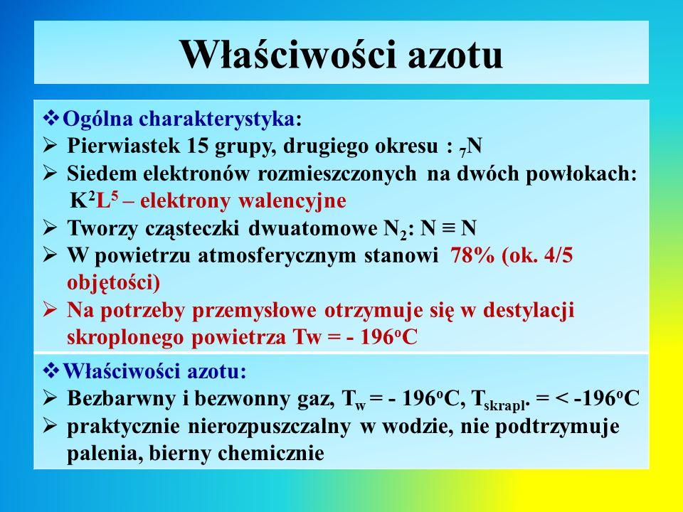 Właściwości azotu  Ogólna charakterystyka:  Pierwiastek 15 grupy, drugiego okresu : 7 N  Siedem elektronów rozmieszczonych na dwóch powłokach: K 2 L 5 – elektrony walencyjne  Tworzy cząsteczki dwuatomowe N 2 : N ≡ N  W powietrzu atmosferycznym stanowi 78% (ok.