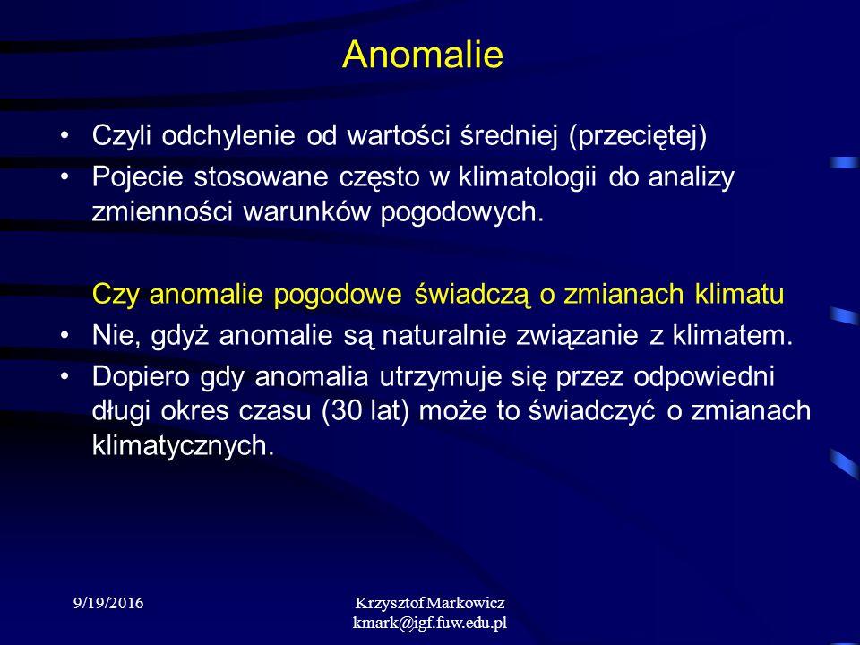 9/19/2016Krzysztof Markowicz kmark@igf.fuw.edu.pl Anomalie Czyli odchylenie od wartości średniej (przeciętej) Pojecie stosowane często w klimatologii do analizy zmienności warunków pogodowych.