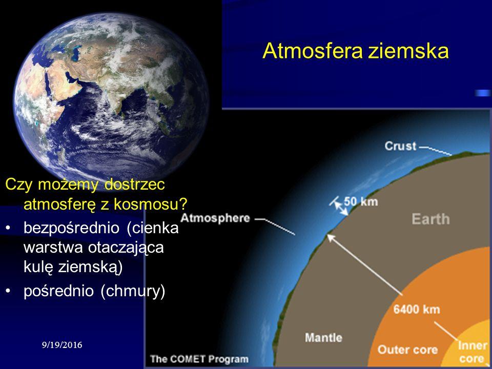 9/19/2016Krzysztof Markowicz kmark@igf.fuw.edu.pl Atmosfera ziemska Czy możemy dostrzec atmosferę z kosmosu.