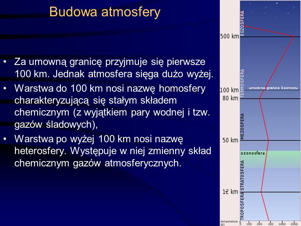 Budowa atmosfery Za umowną granicę przyjmuje się pierwsze 100 km.