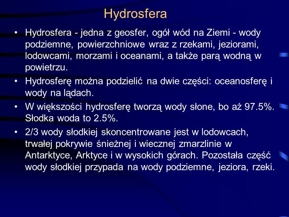 Hydrosfera Hydrosfera - jedna z geosfer, ogół wód na Ziemi - wody podziemne, powierzchniowe wraz z rzekami, jeziorami, lodowcami, morzami i oceanami, a także parą wodną w powietrzu.
