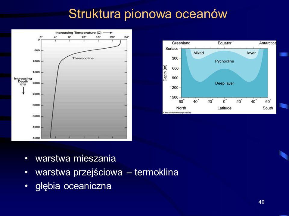 Struktura pionowa oceanów warstwa mieszania warstwa przejściowa – termoklina głębia oceaniczna 40