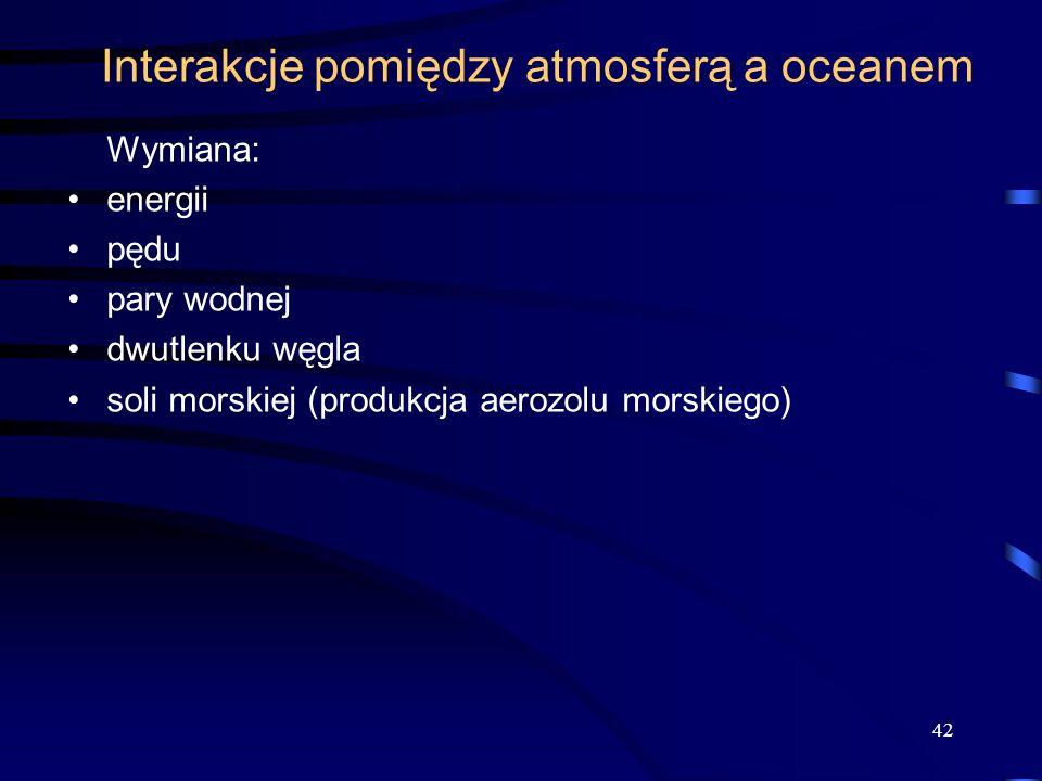 Interakcje pomiędzy atmosferą a oceanem Wymiana: energii pędu pary wodnej dwutlenku węgla soli morskiej (produkcja aerozolu morskiego) 42
