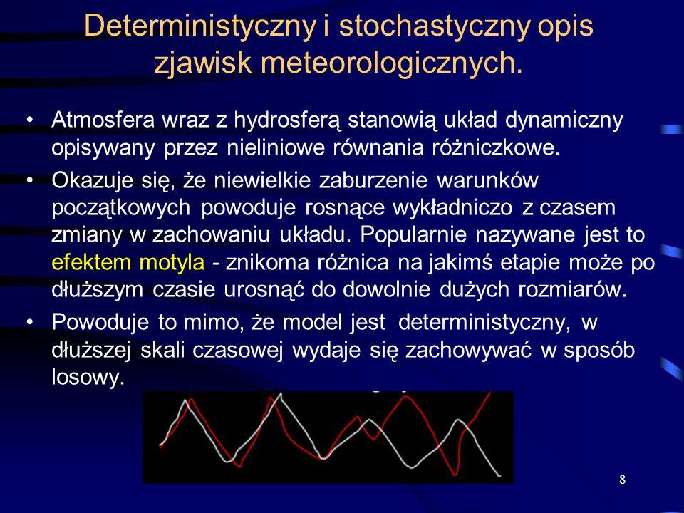 Deterministyczny i stochastyczny opis zjawisk meteorologicznych.