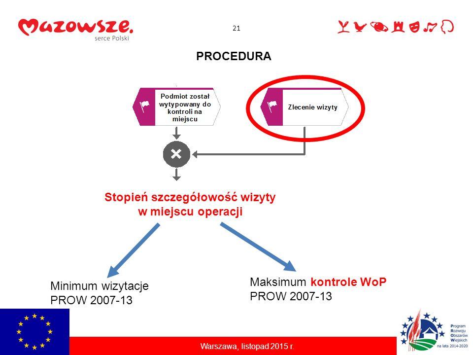 21 Warszawa, listopad 2015 r. PROCEDURA Stopień szczegółowość wizyty w miejscu operacji Minimum wizytacje PROW 2007-13 Maksimum kontrole WoP PROW 2007