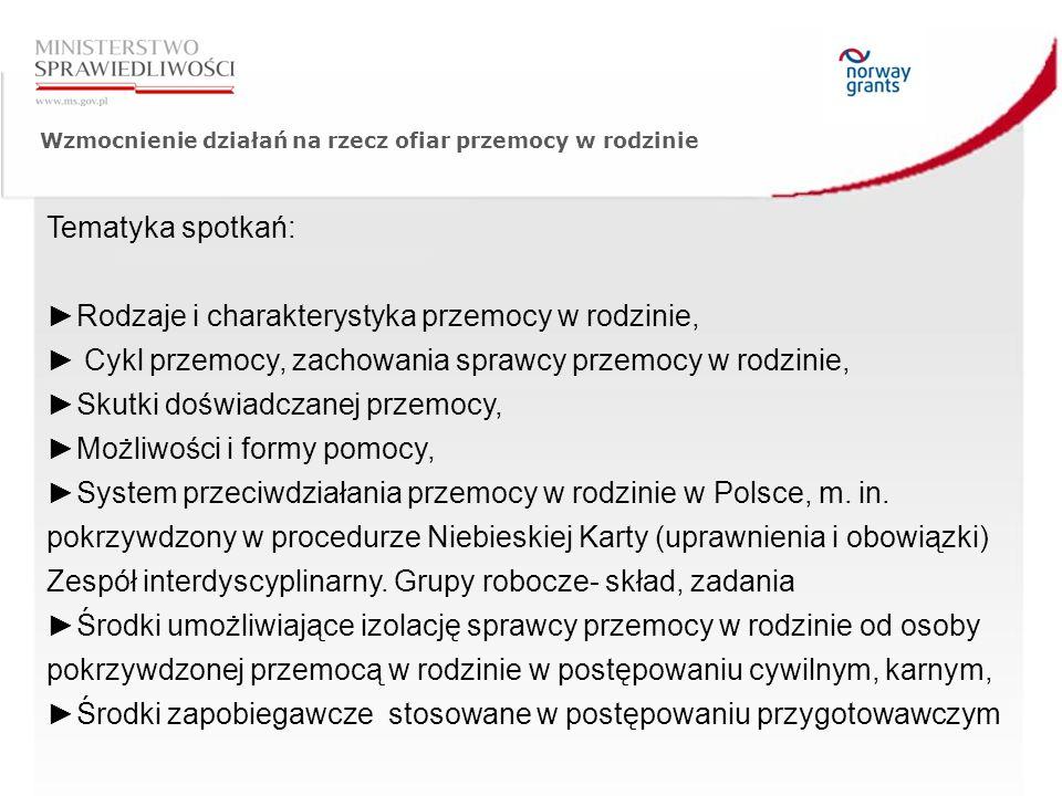 Wzmocnienie działań na rzecz ofiar przemocy w rodzinie Tematyka spotkań: ►Rodzaje i charakterystyka przemocy w rodzinie, ► Cykl przemocy, zachowania sprawcy przemocy w rodzinie, ►Skutki doświadczanej przemocy, ►Możliwości i formy pomocy, ►System przeciwdziałania przemocy w rodzinie w Polsce, m.