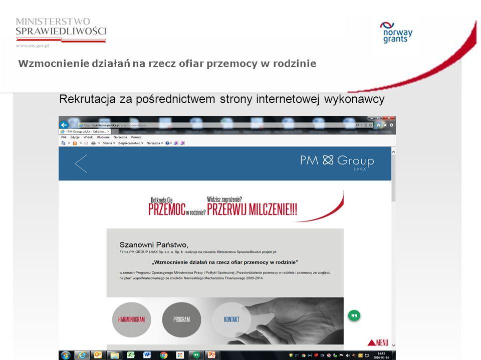 Wzmocnienie działań na rzecz ofiar przemocy w rodzinie Rekrutacja za pośrednictwem strony internetowej wykonawcy