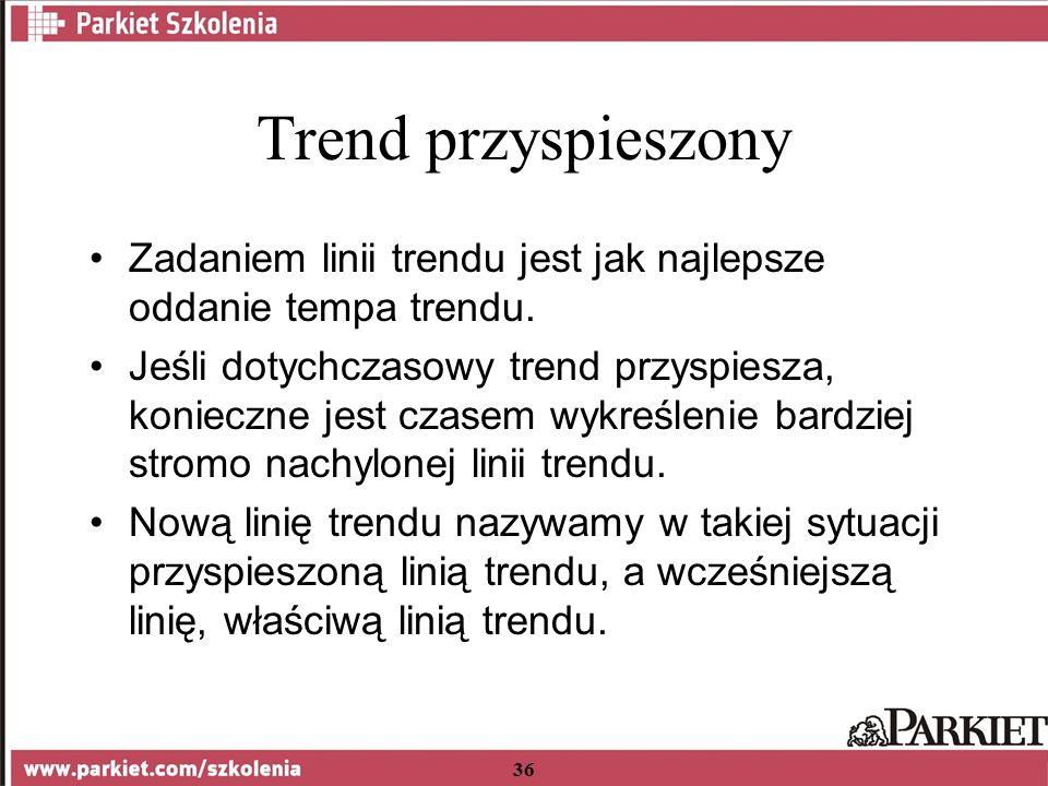 36 Trend przyspieszony Zadaniem linii trendu jest jak najlepsze oddanie tempa trendu.