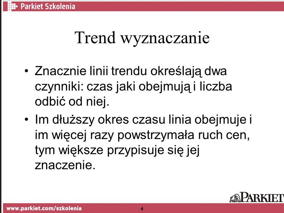 4 Trend wyznaczanie Znacznie linii trendu określają dwa czynniki: czas jaki obejmują i liczba odbić od niej.