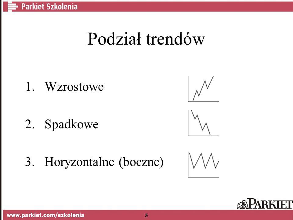 5 Podział trendów 1.Wzrostowe 2.Spadkowe 3.Horyzontalne (boczne)